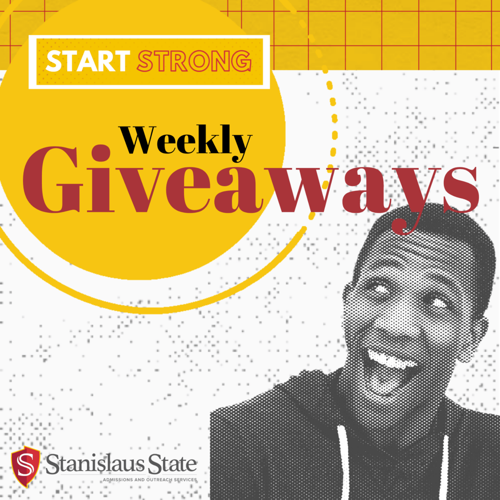 giveaway announcement, image of person smiling, text says Weekly Giveaways