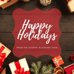 banner, wood background with gifts. Text says Happy Holidays